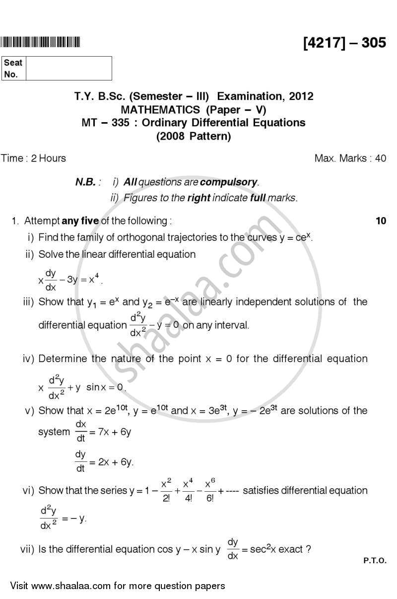 Ordinary Differential Equations 2012-2013 - B.Sc. - Semester 5 (TYBSc) - University of Pune question paper with PDF download