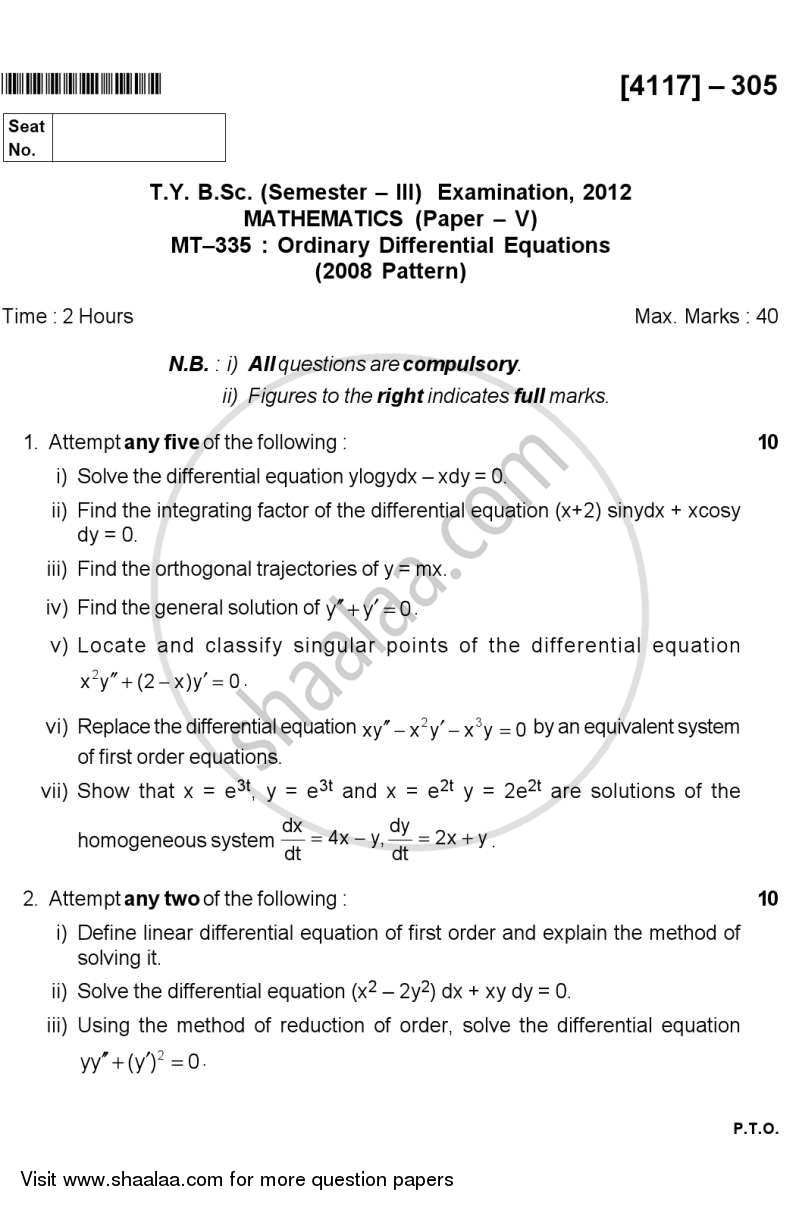 Question Paper - Ordinary Differential Equations 2012 - 2013 - B.Sc. - Semester 5 (TYBSc) - University of Pune