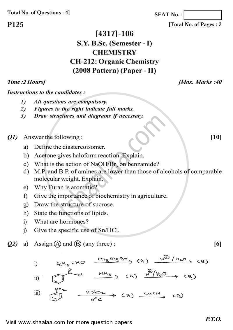 Question Paper - Organic Chemistry 2013 - 2014-B.Sc.-Semester 3 (SYBSc) University of Pune