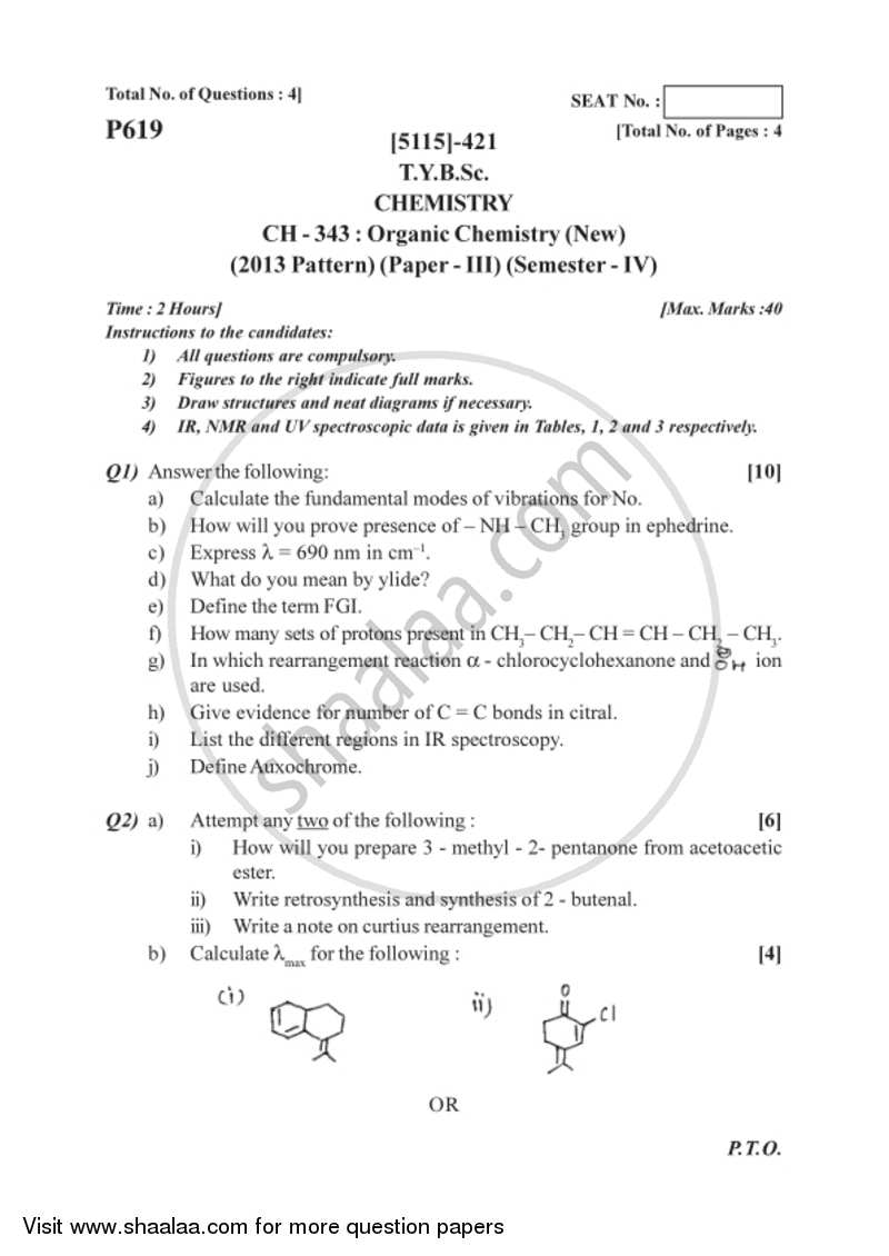 Organic Chemistry 2016-2017 - B.Sc. - Semester 6 (TYBSc) - University of Pune question paper with PDF download