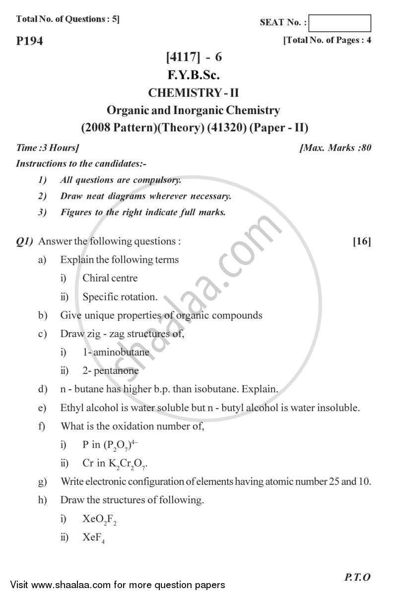 Question Paper - Organic and Inorganic Chemistry 2012 - 2013 - B.Sc. - Semester 2 (FYBSc) - University of Pune