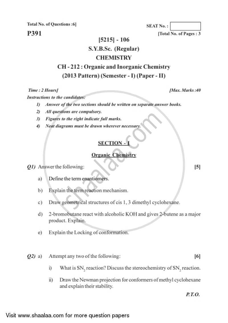 Organic and Inorganic Chemistry 2017-2018 B Sc Chemistry
