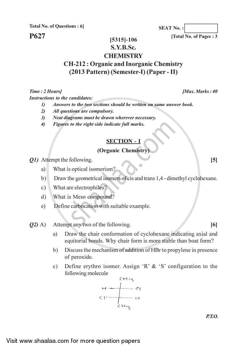 Organic and Inorganic Chemistry 2017-2018 B Sc Chemistry Semester 3