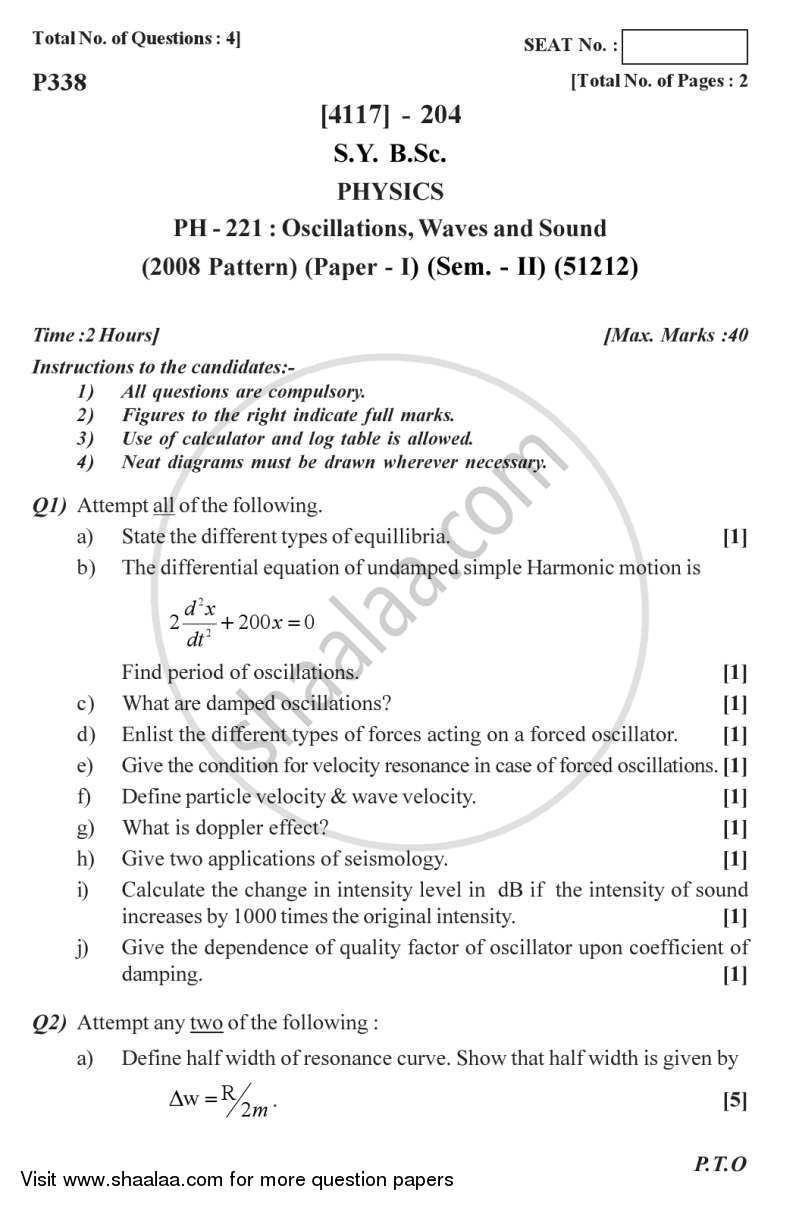 Question Paper - Oscillations, Waves and Sound 2012 - 2013 - B.Sc. - Semester 4 (SYBSc) - University of Pune