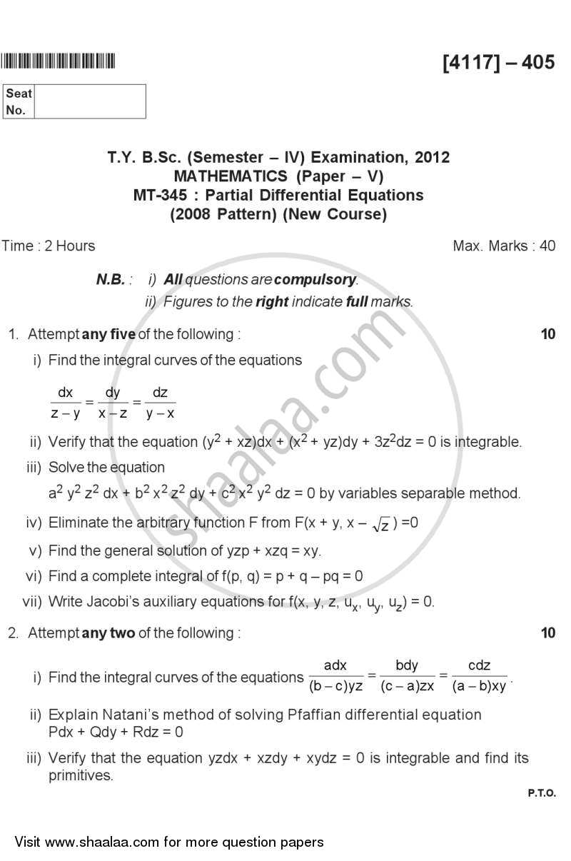 Partial Differential Equations 2012-2013 - B.Sc. - Semester 6 (TYBSc) - University of Pune question paper with PDF download