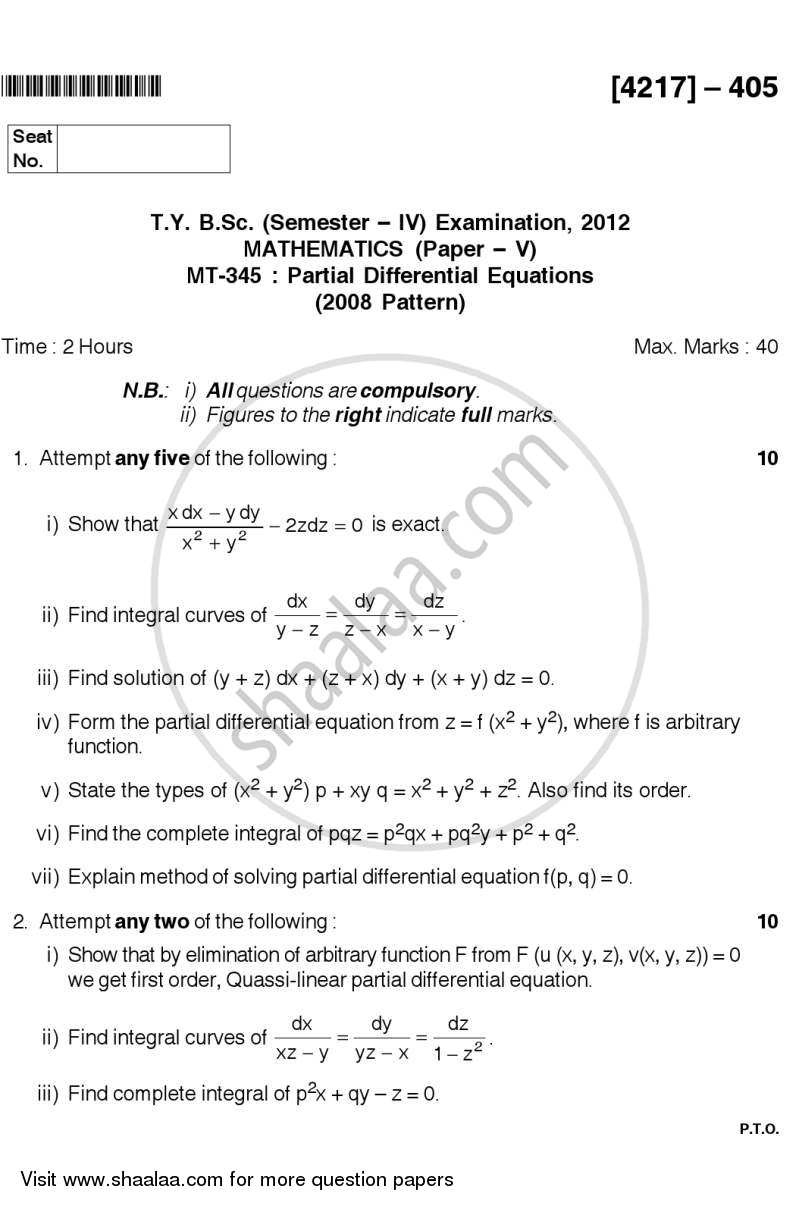 Question Paper - Partial Differential Equations 2012 - 2013 - B.Sc. - Semester 6 (TYBSc) - University of Pune