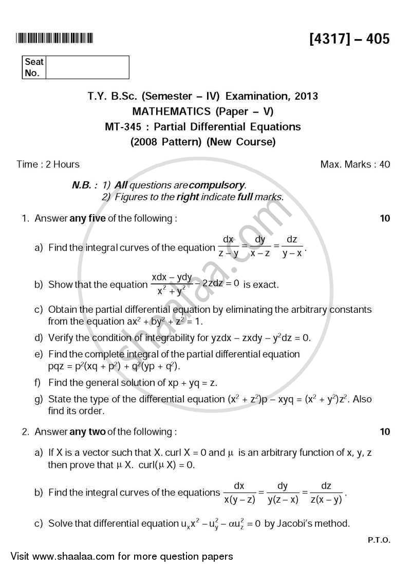 Question Paper - Partial Differential Equations 2013 - 2014 - B.Sc. - Semester 6 (TYBSc) - University of Pune