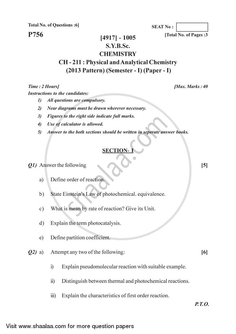 Physical and Analytical Chemistry 2015-2016 - B.Sc. - Semester 3 (SYBSc) - University of Pune question paper with PDF download