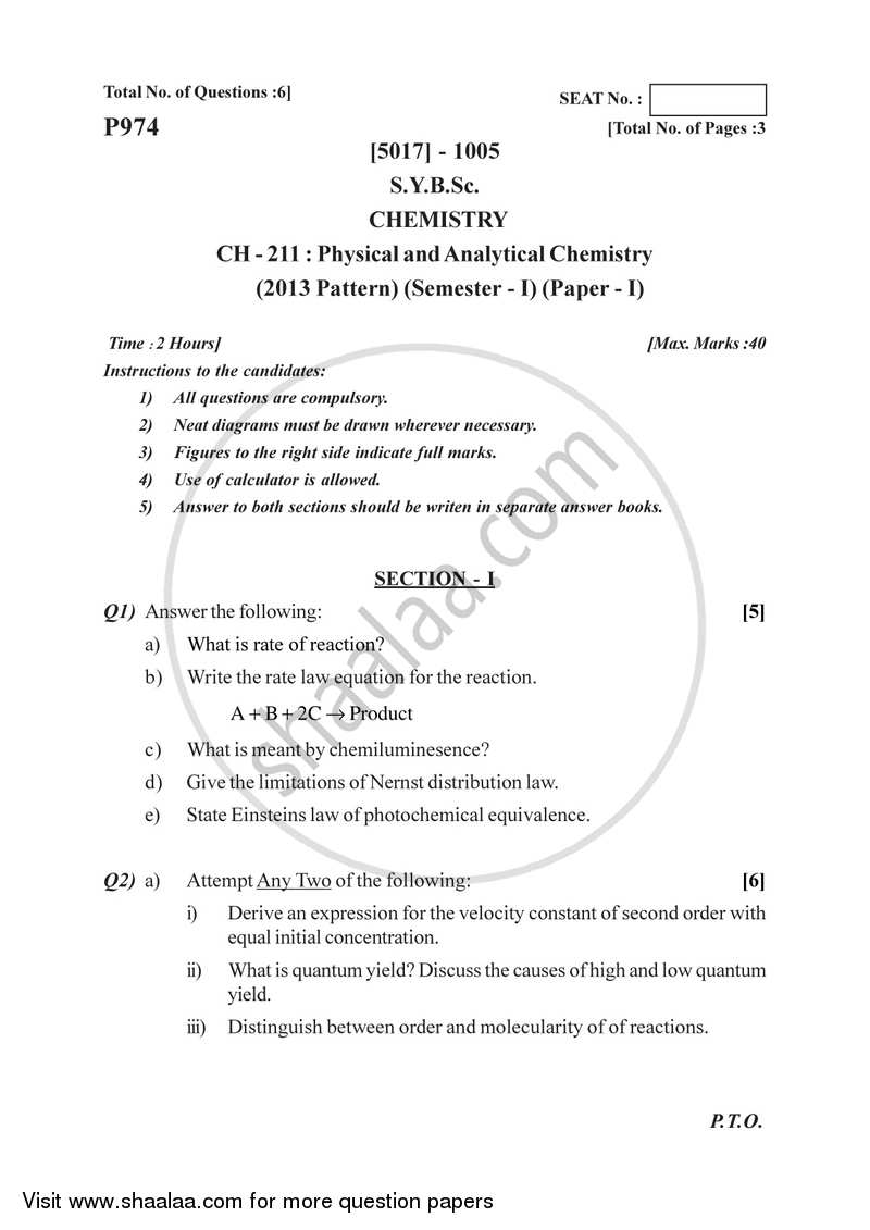 Physical and Analytical Chemistry 2016-2017 - B.Sc. - Semester 3 (SYBSc) - University of Pune question paper with PDF download