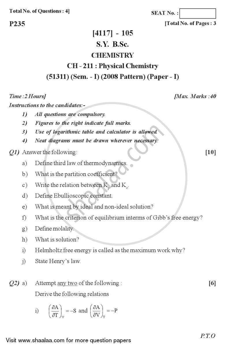 Question Paper - Physical Chemistry 2012 - 2013 - B.Sc. - Semester 3 (SYBSc) - University of Pune