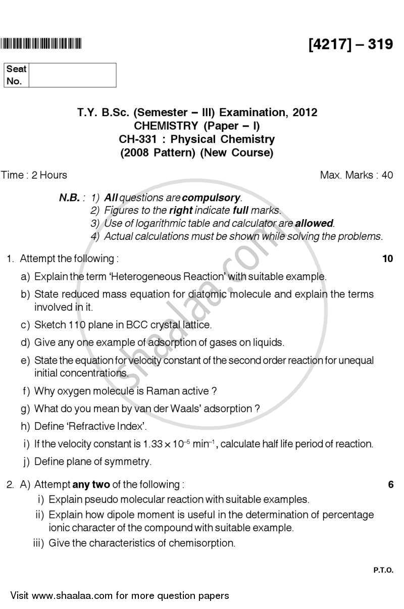 Question Paper - Physical Chemistry 2012 - 2013 - B.Sc. - Semester 5 (TYBSc) - University of Pune