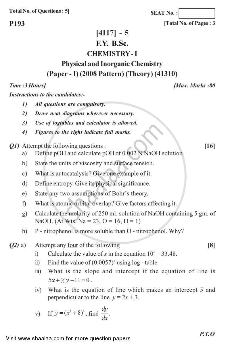 Question Paper - Physical and Inorganic Chemistry 2012 - 2013 - B.Sc. - Semester 2 (FYBSc) - University of Pune