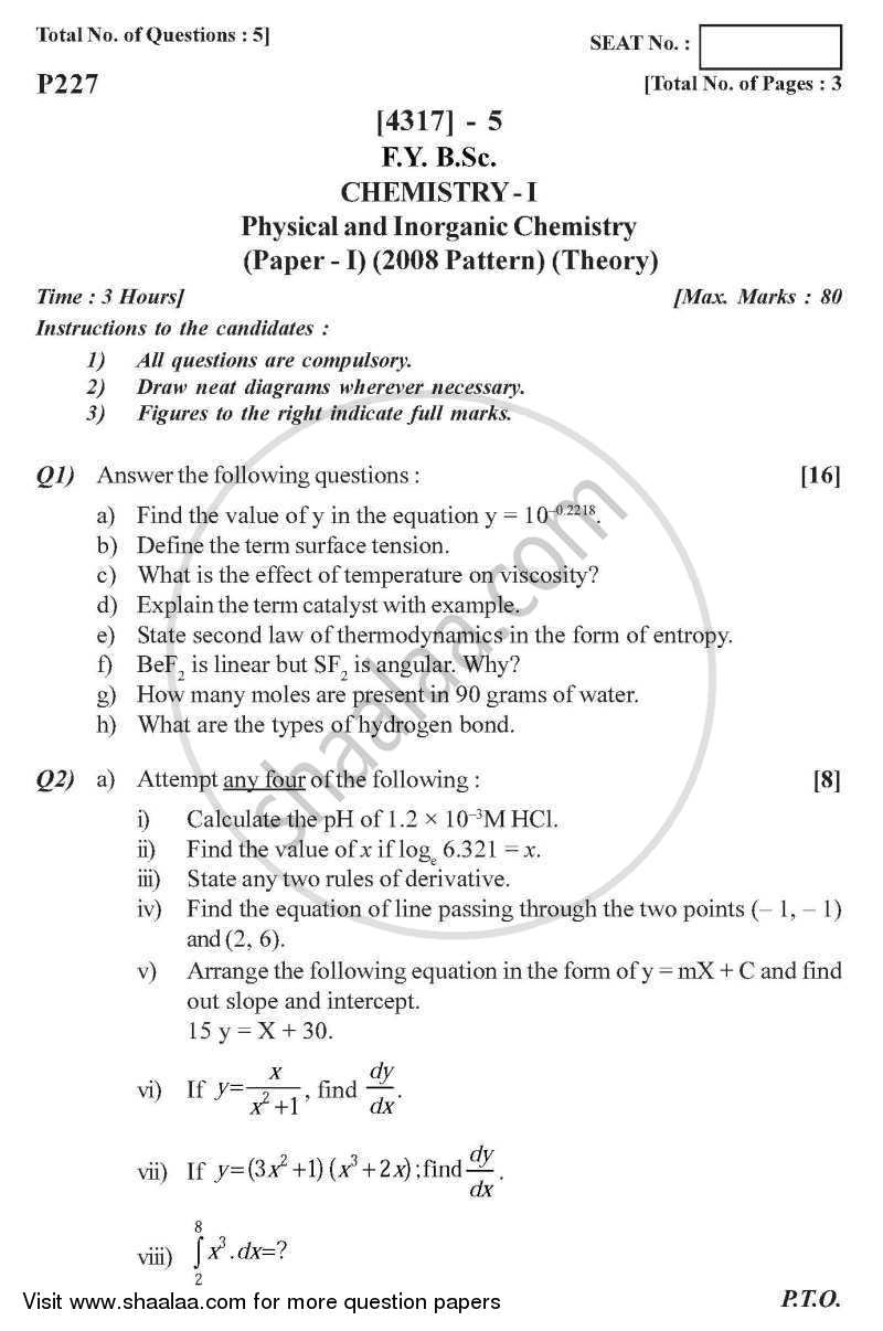 Question Paper - Physical and Inorganic Chemistry 2013 - 2014 - B.Sc. - Semester 2 (FYBSc) - University of Pune