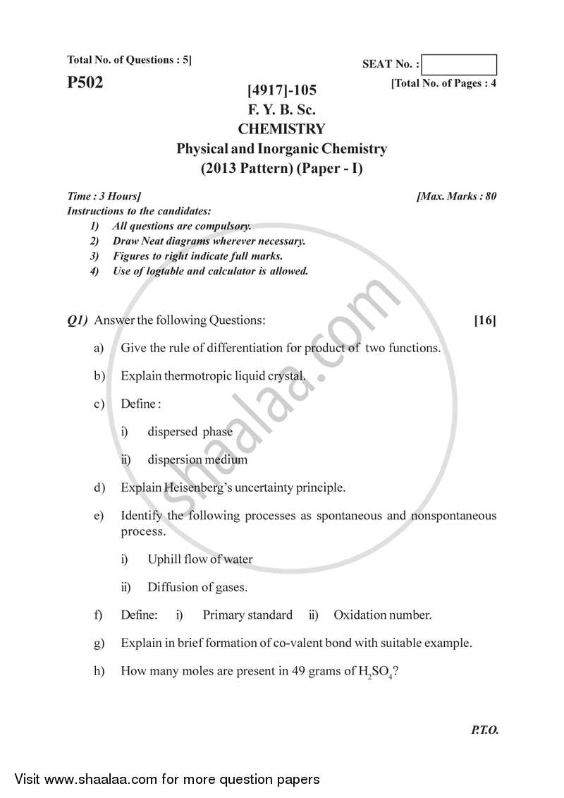 Physical and Inorganic Chemistry 2015-2016 - B.Sc. - Semester 2 (FYBSc) - University of Pune question paper with PDF download