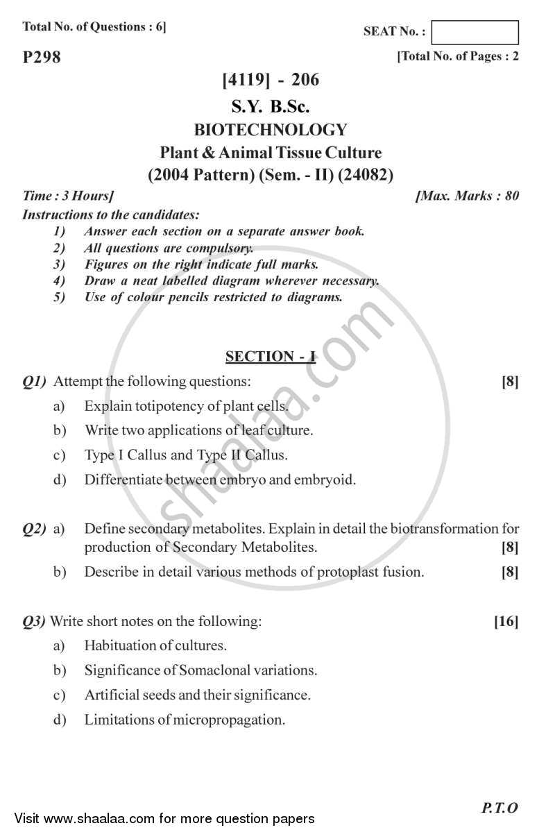 Question Paper B Sc Biotechnology Semester 4 Sybsc Plant And