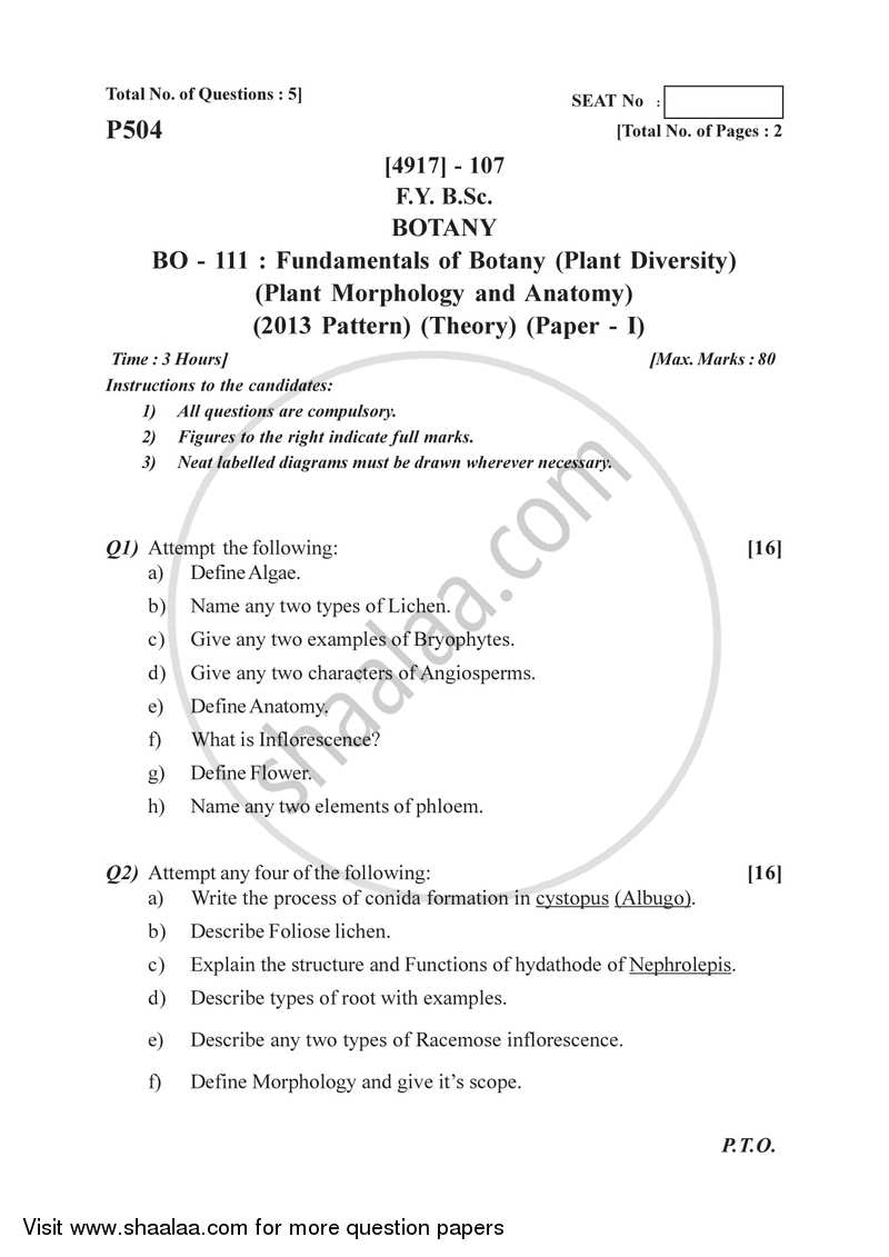 Question Paper Plant Diversityplant Morphology And Anatomy 2015