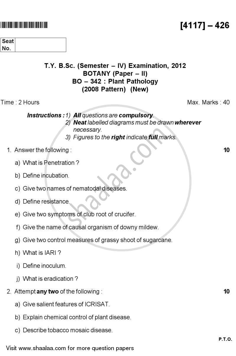Question Paper - Plant Pathology 2012 - 2013 - B.Sc. - Semester 6 (TYBSc) - University of Pune