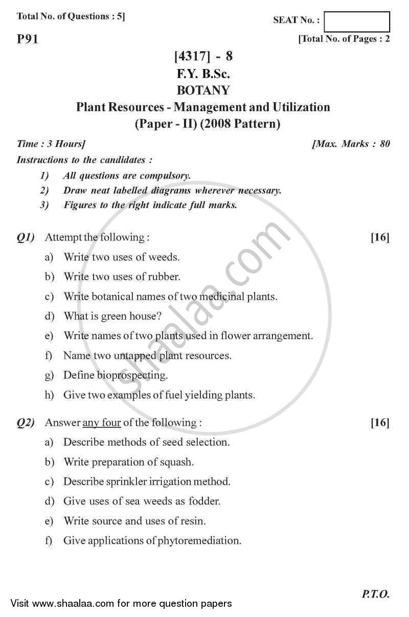 Plant Resources - Management and Utilization 2013-2014 - B.Sc. - Semester 2 (FYBSc) - University of Pune question paper with PDF download