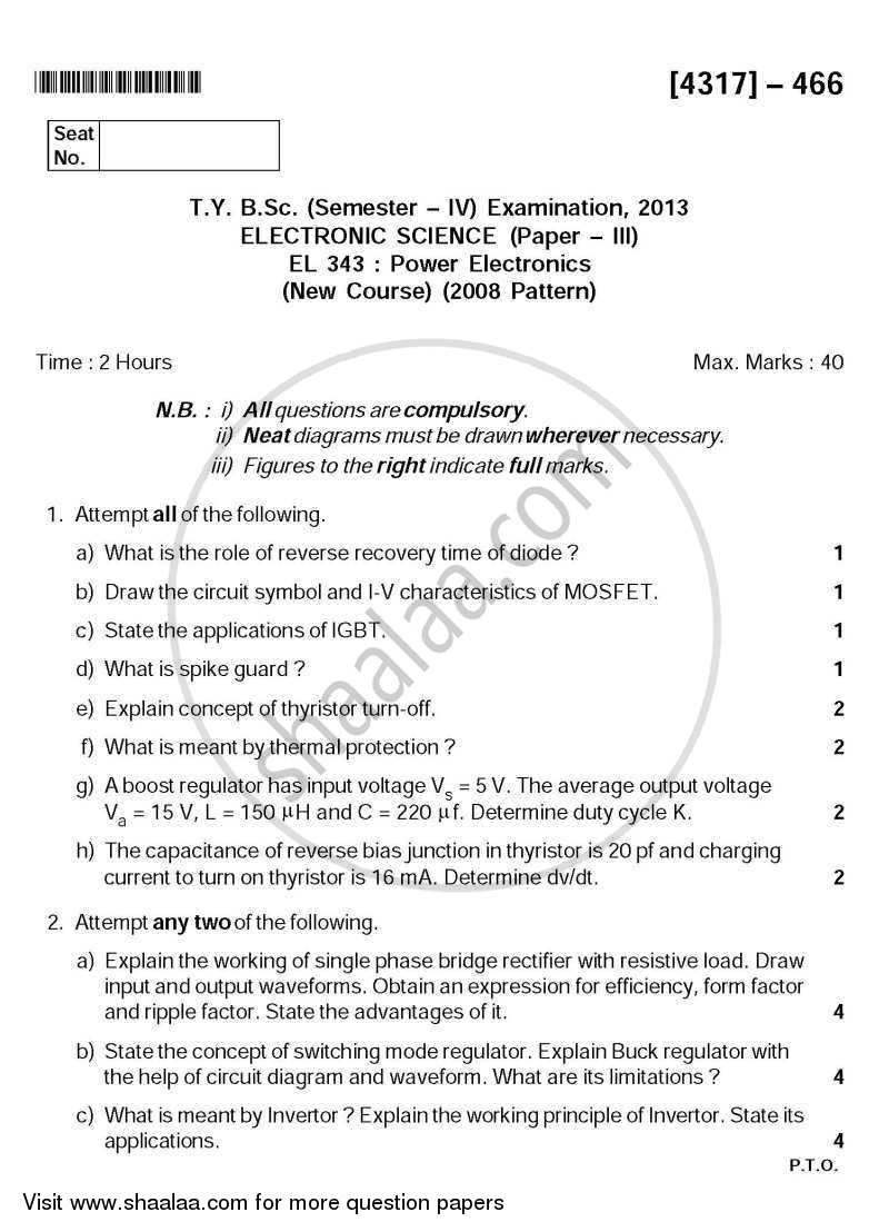 Question Paper - Power Electronics 2013 - 2014 - B.Sc. - Semester 6 (TYBSc) - University of Pune