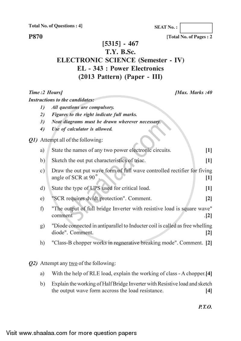 Power Electronics 2017-2018 B Sc Electronic Science Semester
