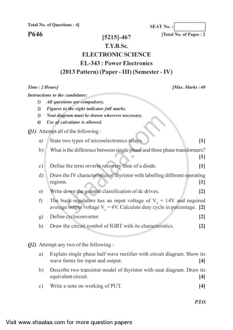 Question Paper - Power Electronics 2017 - 2018 B.Sc Electronic ...
