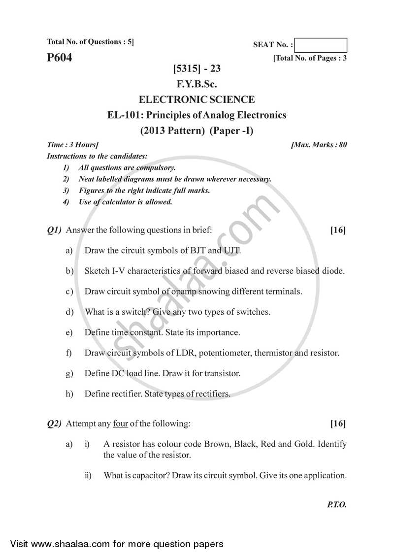 Principles of Analog Electronics 2017-2018 - B.Sc. - Semester 2 (FYBSc) - University of Pune question paper with PDF download