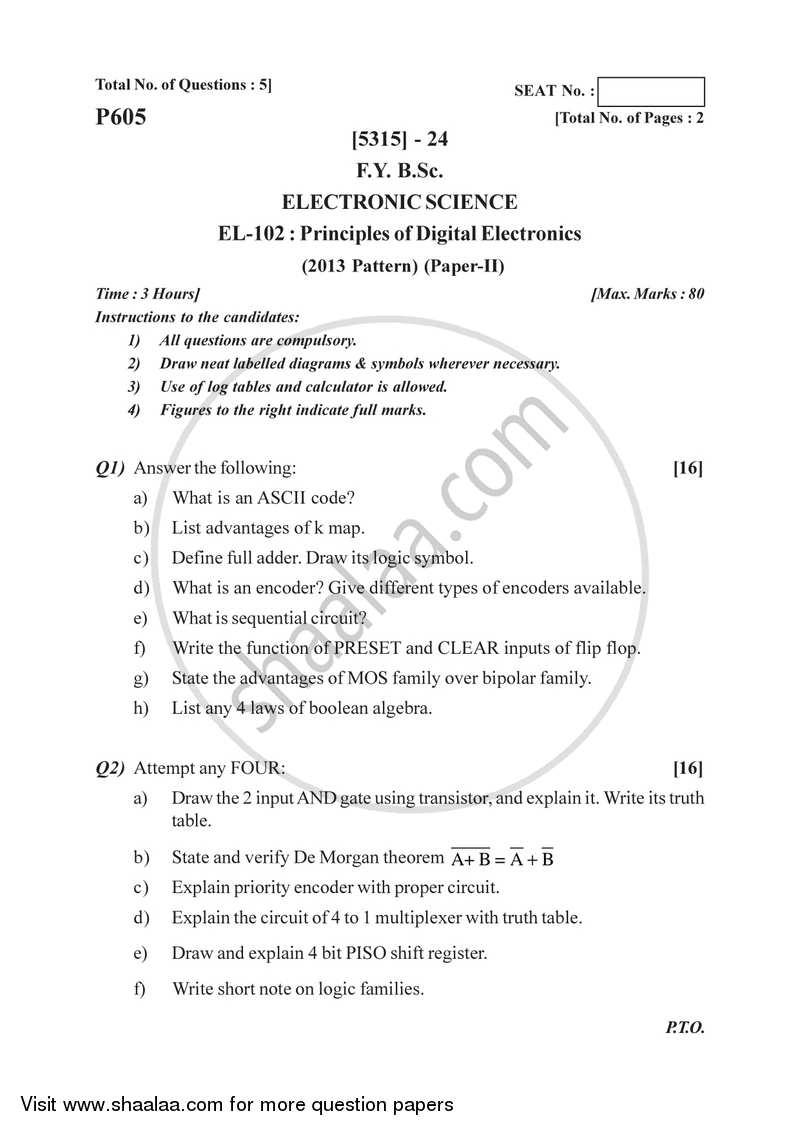 Principles of Digital Electronics 2017-2018 B Sc Computer Science