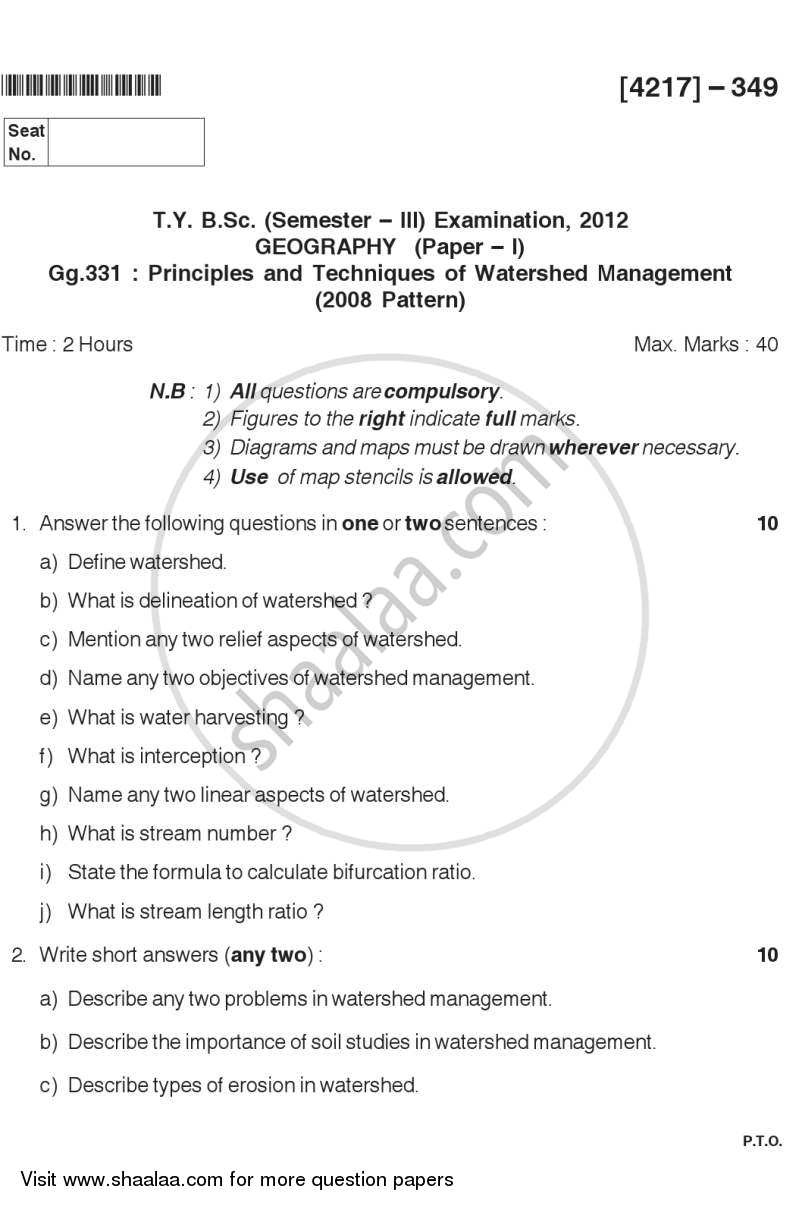 Question Paper - Principles and Techniques of Watershed Management 2012 - 2013 - B.Sc. - Semester 5 (TYBSc) - University of Pune