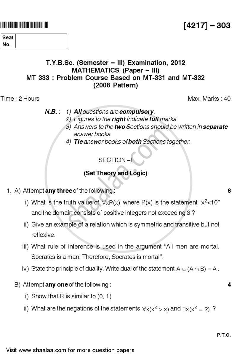 Question Paper - Problem Set 1 2012 - 2013-B.Sc.-Semester 5 (TYBSc) University of Pune