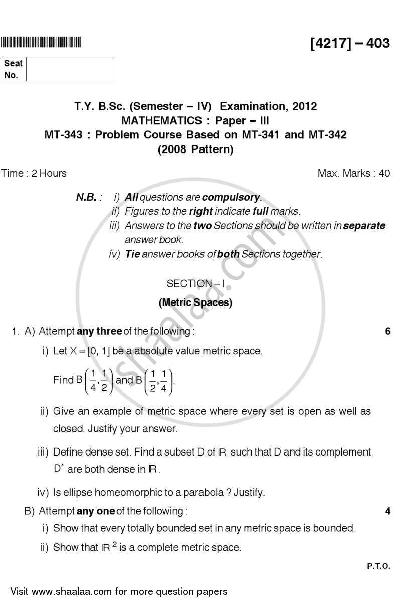 Question Paper - Problem Set 3 2012 - 2013 - B.Sc. - Semester 6 (TYBSc) - University of Pune