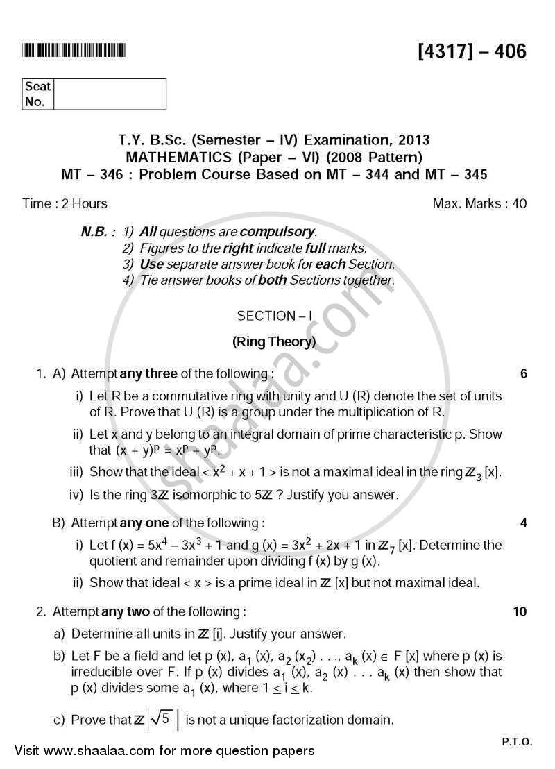 Question Paper - Problem Set 4 2013 - 2014 - B.Sc. - Semester 6 (TYBSc) - University of Pune