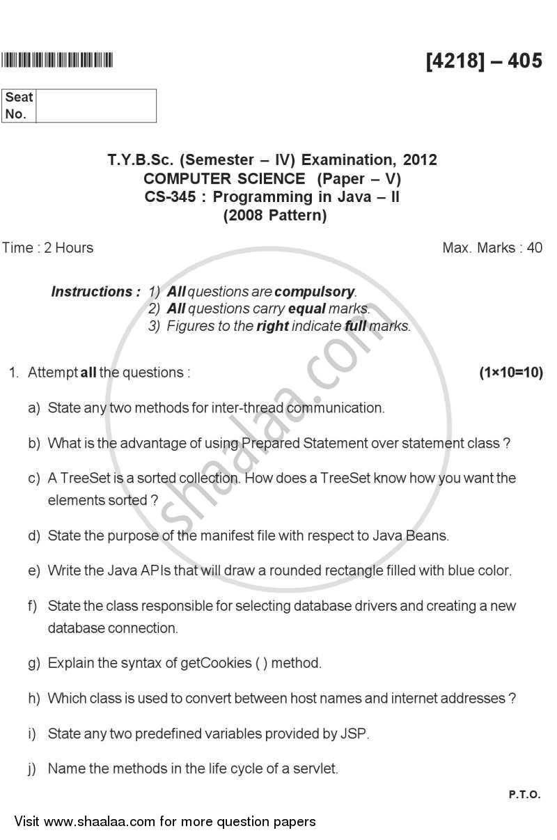 Question Paper - Programming in Java 2 2012 - 2013 - B.Sc. - Semester 6 (TYBSc) - University of Pune