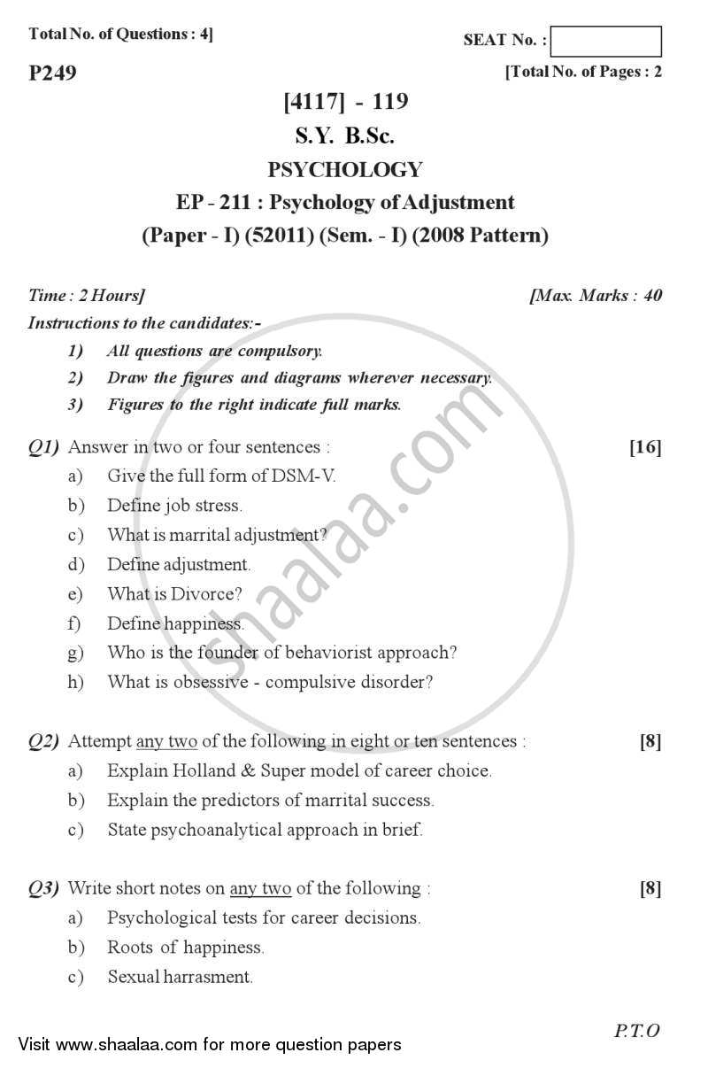 Question Paper - Psychology of Adjustment 2012 - 2013 - B.Sc. - Semester 3 (SYBSc) - University of Pune