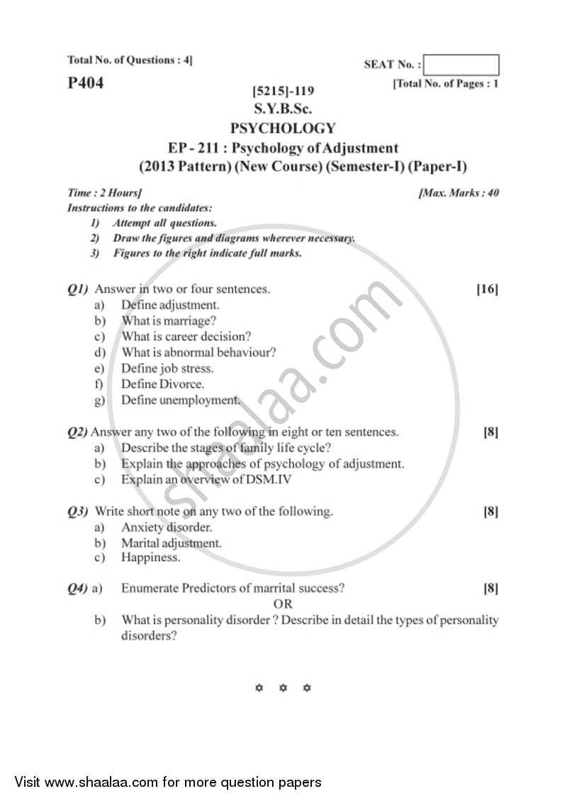 Psychology of Adjustment 2017-2018 B Sc Psychology Semester