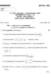 Real Analysis 1 2017-2018 B Sc Mathematics Semester 5 (TYBSc