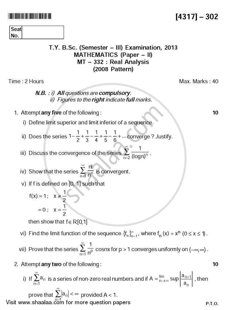 Question Paper - Real Analysis 2013 - 2014 - B.Sc. - Semester 5 (TYBSc) - University of Pune