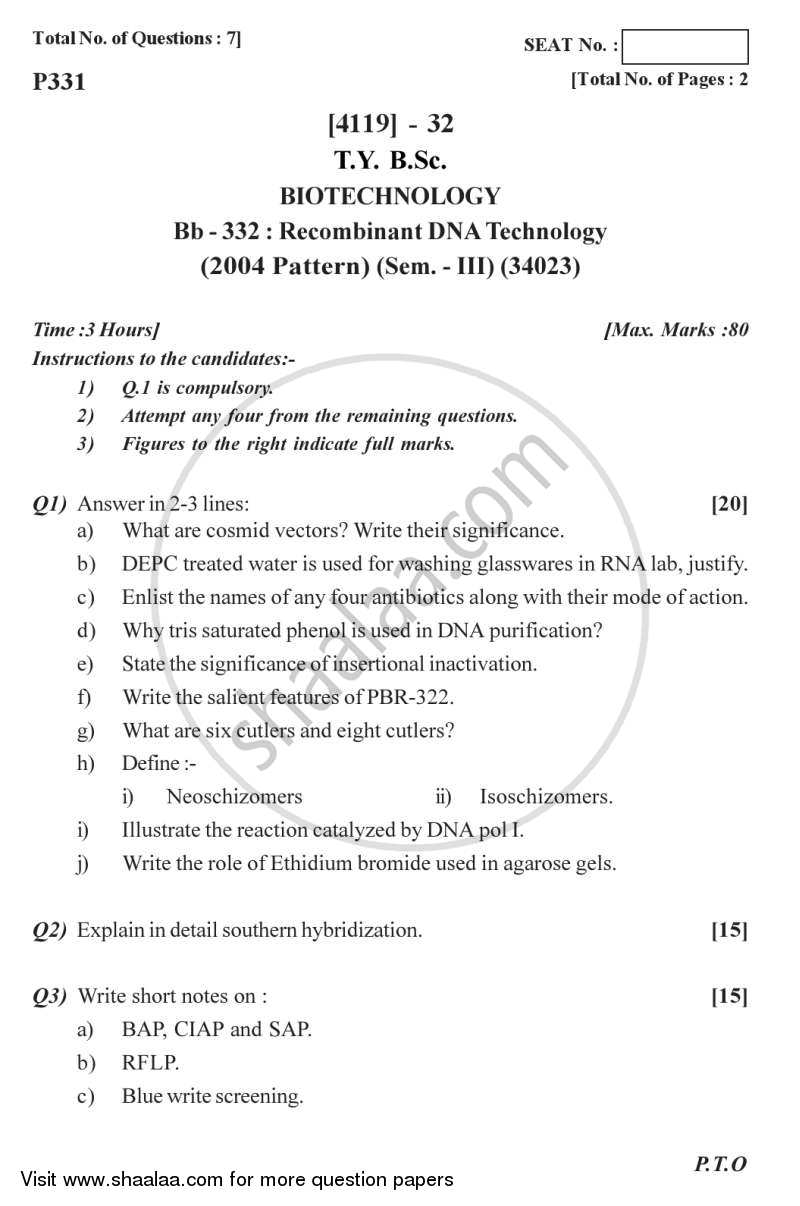 Question Paper - Recombinant DNA Technology 2012 - 2013 - B.Sc. - Semester 6 (TYBSc) - University of Pune