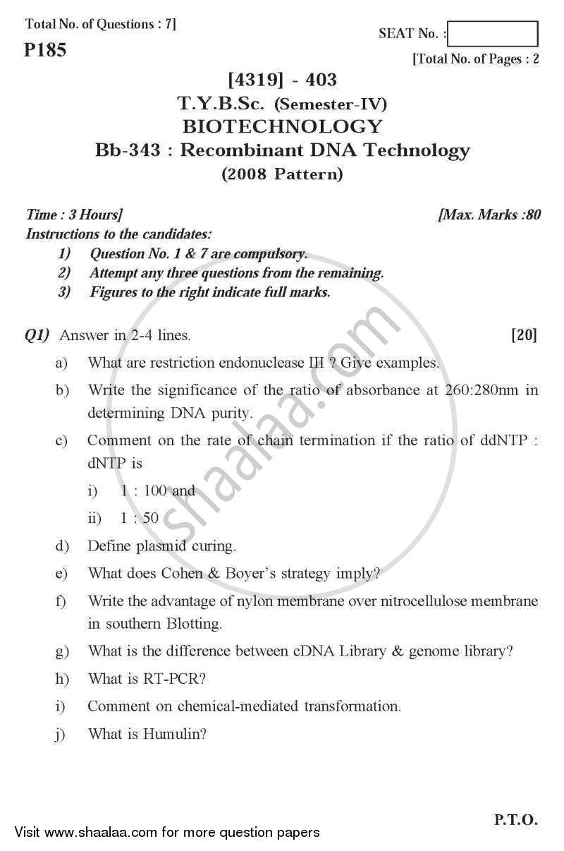 Question Paper - Recombinant DNA Technology 2013 - 2014 - B.Sc. - Semester 6 (TYBSc) - University of Pune