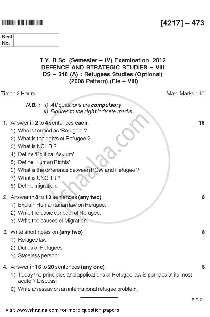 Question Paper - Refugees Studies 2012 - 2013 - B.Sc. - Semester 6 (TYBSc) - University of Pune