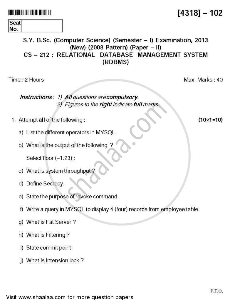 Question Paper - Relational Database Management System (RDBMS) 2013 - 2014-B.Sc.-Semester 3 (SYBSc) University of Pune