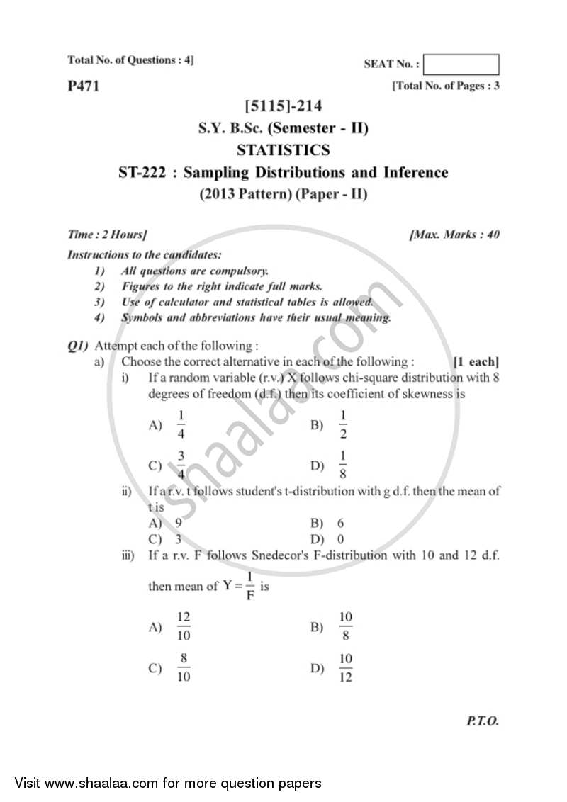 Sampling Distributions and Inference 2016-2017 - B.Sc. - Semester 4 (SYBSc) - University of Pune question paper with PDF download