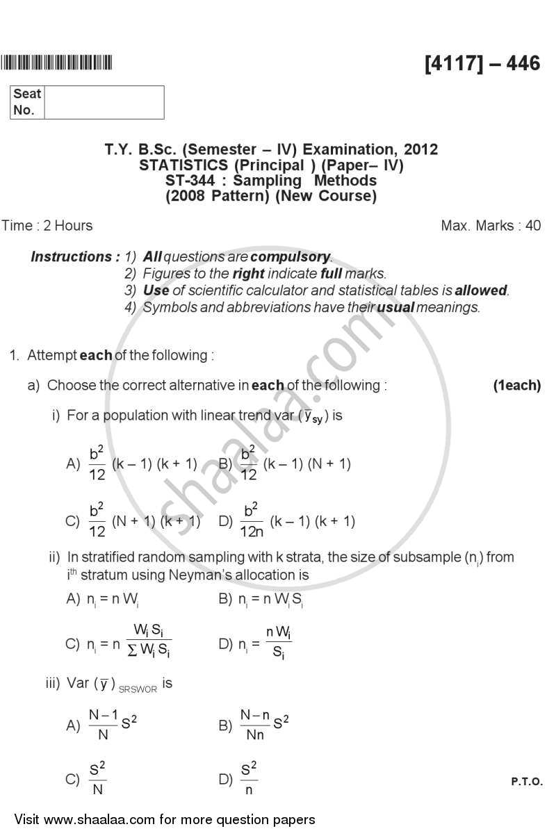 Sampling Methods 2012-2013 - B.Sc. - Semester 6 (TYBSc) - University of Pune question paper with PDF download