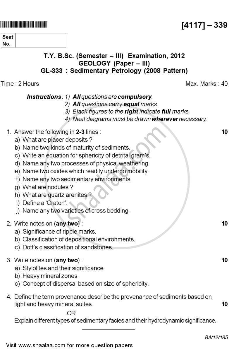 Question Paper - Sedimentary Petrology 2012 - 2013-B.Sc.-Semester 5 (TYBSc) University of Pune