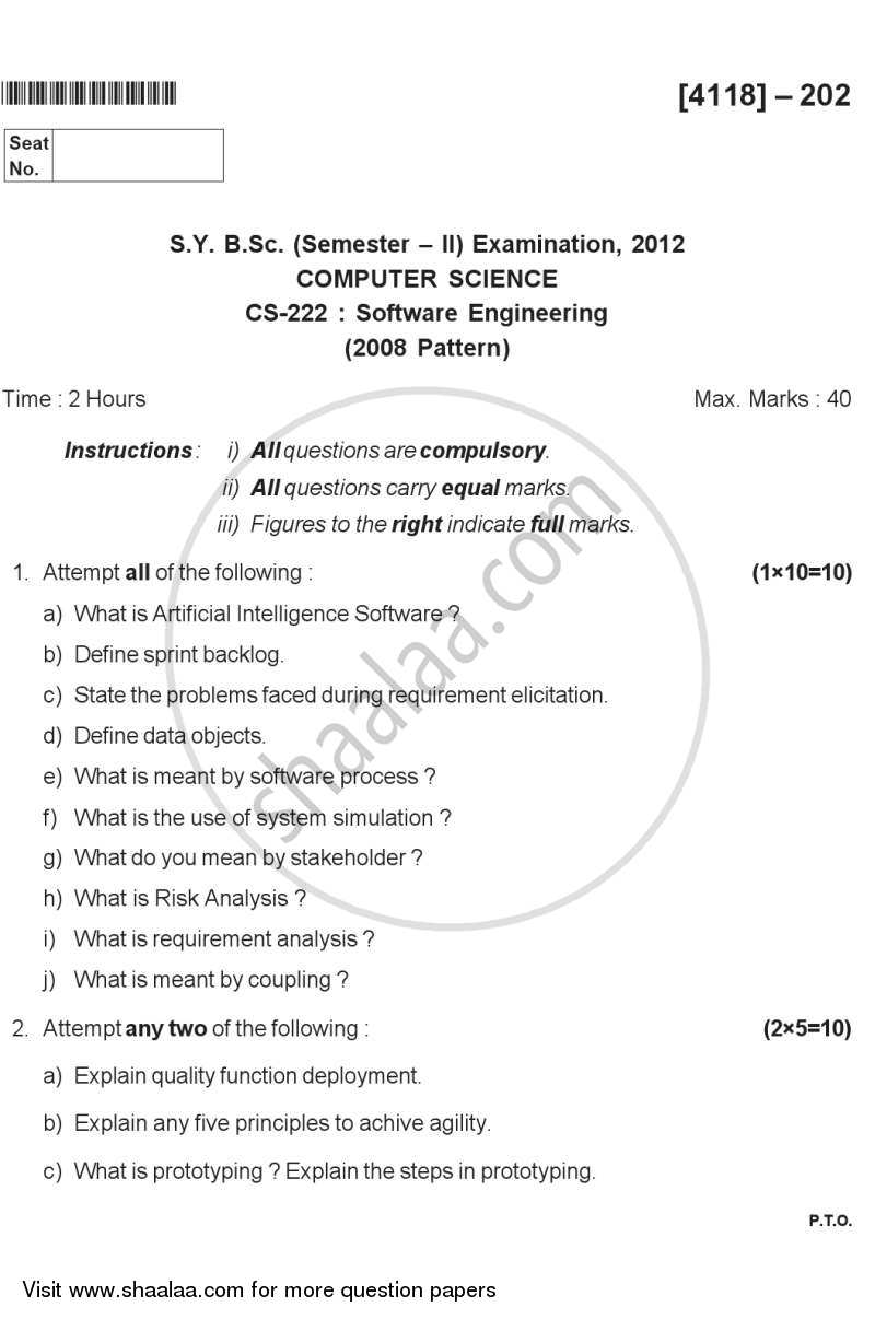 Question Paper - Software Engineering 2012 - 2013 - B.Sc. - Semester 4 (SYBSc) - University of Pune