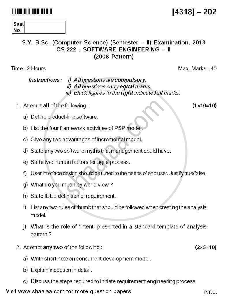 Question Paper - Software Engineering 2013 - 2014 - B.Sc. - Semester 4 (SYBSc) - University of Pune