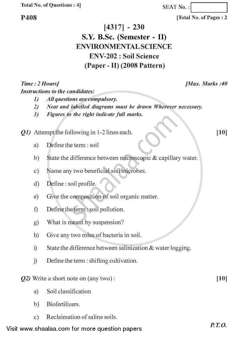 Question Paper - Soil Science 2013 - 2014 - B.Sc. - Semester 4 (SYBSc) - University of Pune