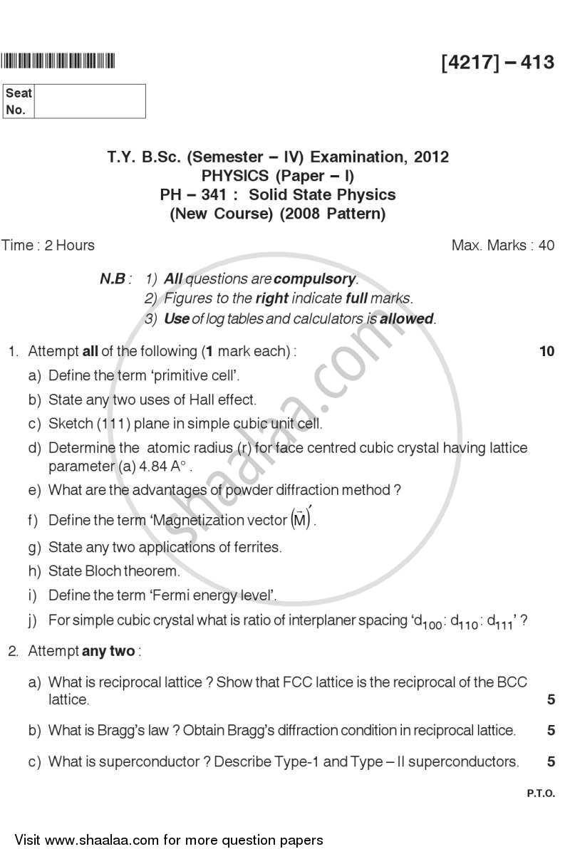 Question Paper - Solid State Physics 2012 - 2013 - B.Sc. - Semester 6 (TYBSc) - University of Pune