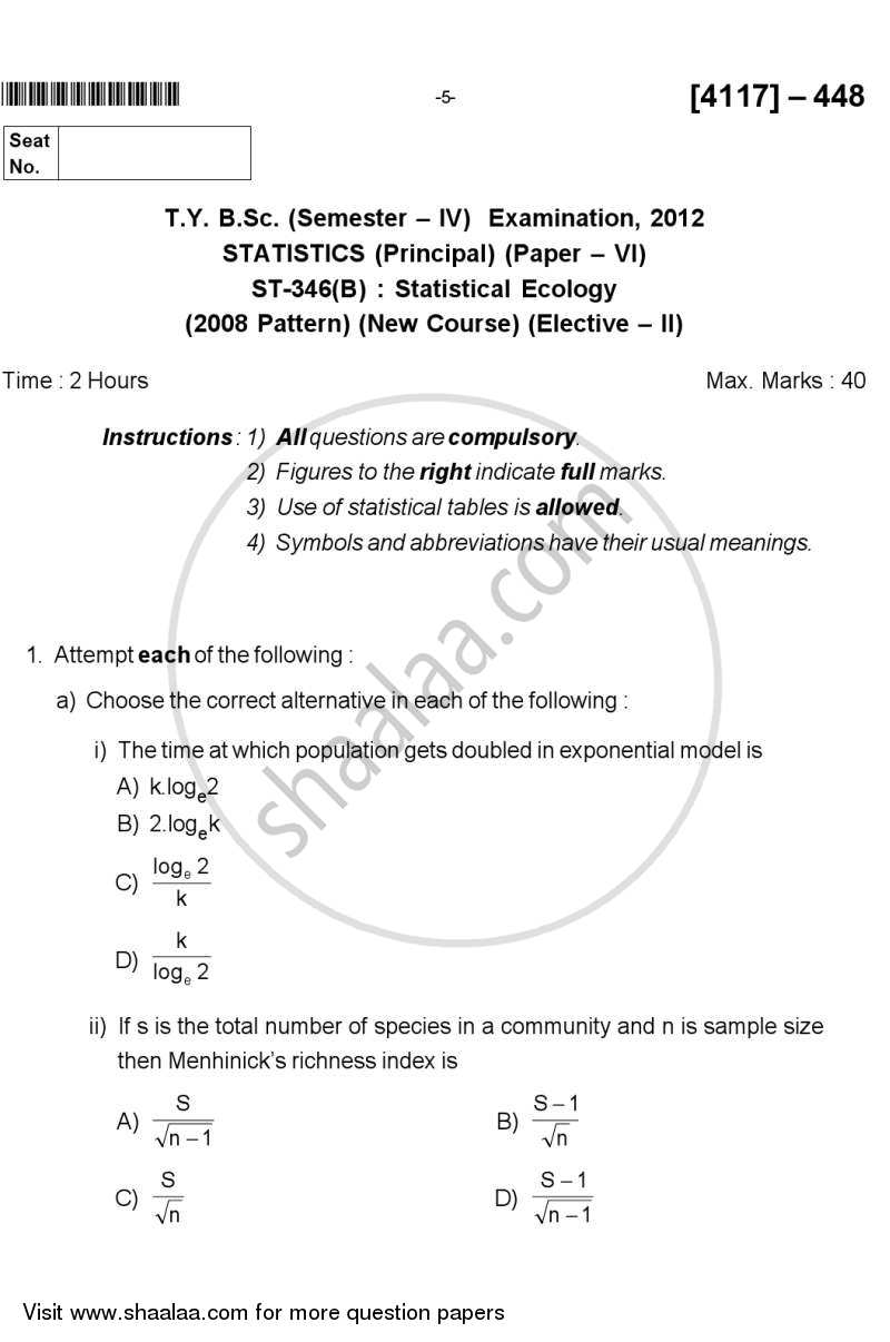 Question Paper - Statistical Ecology 2012 - 2013 - B.Sc. - Semester 6 (TYBSc) - University of Pune