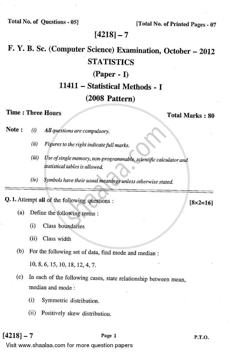 Statistical Methods 1 2012-2013 - B.Sc. - Semester 2 (FYBSc) - University of Pune question paper with PDF download