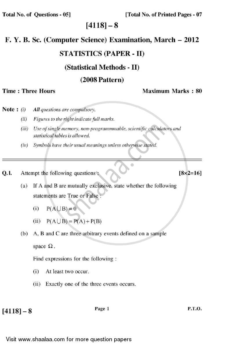 Statistical Methods 2 2012-2013 - B.Sc. - Semester 2 (FYBSc) - University of Pune question paper with PDF download